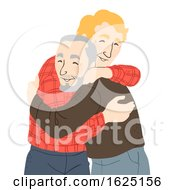 Senior Man Hug Illustration