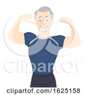 Senior Man Fit Flex Muscles Illustration