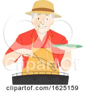 Senior Man Barbecue Illustration