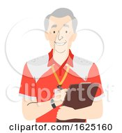 Senior Man Coach Trainer Illustration