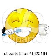 Poster, Art Print Of Smiley Mascot Brush Teeth Illustration