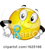 Poster, Art Print Of Smiley Mascot Ribbon Food Allergy Awareness