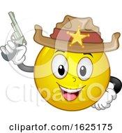 Poster, Art Print Of Smiley Sheriff Gun Illustration