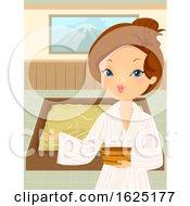 Girl Yukata Welcome Onsen Bath Indoor Illustration