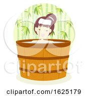 Girl Onsen Bath Barrel Outdoor Illustration