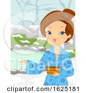 Girl Yukata Welcome Onsen Bath Snow Outdoor