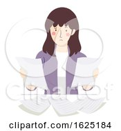Poster, Art Print Of Girl Compare Teacher Two Papers Illustration