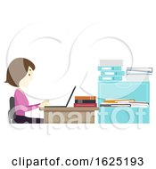 Girl Teacher Browse Laptop Faculty Room