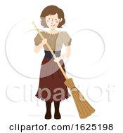 Girl Medieval Peasant Broom Illustration