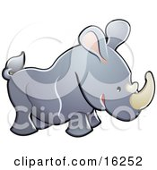 Adorable Gray Rhino With Pink Ears And White Horns Clipart Illustration