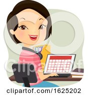 Girl Homeschool Study Calendar Illustration
