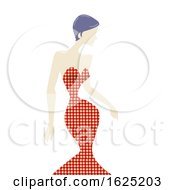 Girl Houndsooth Pattern Dress Illustration