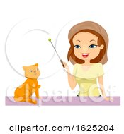 Girl Train Cat Illustration