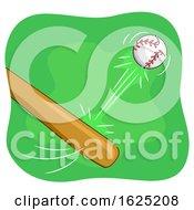 Poster, Art Print Of Baseball Bat Hit Illustration