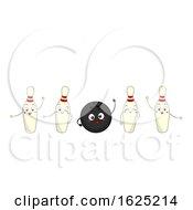 Mascot Bowling Ball Pins Illustration