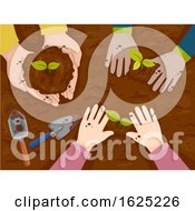 Hands Kids Plant Top View Illustration