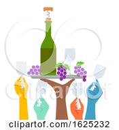 Hands Wine Tasting Bottle Glass Illustration