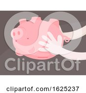 Hands Piggy Bank Upside Down Empty Illustration