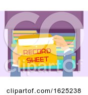 Hands Envelope File Record Sheet Illustration