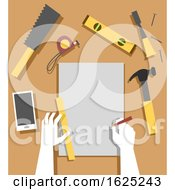 Poster, Art Print Of Hands Woodworking Plan Illustration