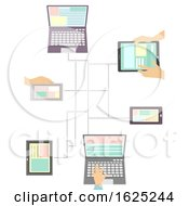 Hands Mobile Laptop Media Connection Illustration