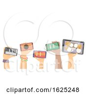Hands Digital Instruments Jamming Illustration