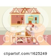 Hands Doll House Arrange Illustration