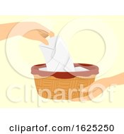 Poster, Art Print Of Hands Mass Collection Offering Basket Illustration
