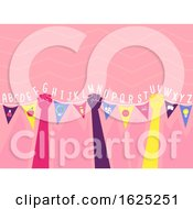 Hands Bunting Flags Alphabet Illustration