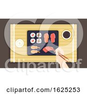 Poster, Art Print Of Hand Chopsticks Sushi Illustration
