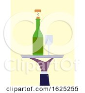Hand Wine Bottle Glass Waiter Illustration