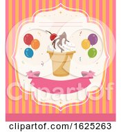 Poster, Art Print Of Invitation Ice Cream Party Illustration