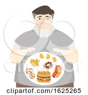 Man Big Tummy Junk Foods Illustration