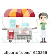 Man Burger Cart Vendor Illustration