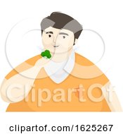 Man Eat Broccoli Illustration