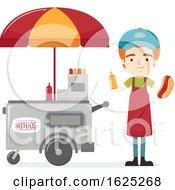 Man Hotdog Sandwich Vendor Illustration