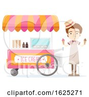 Man Ice Cream Vendor Illustration