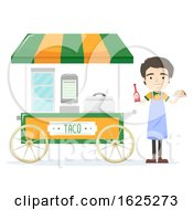 Man Taco Cart Vendor Illustration