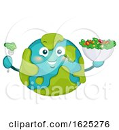 Mascot Big Earth Eat Salad Illustration