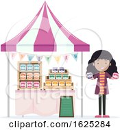 Girl Fruit Jam Vendor Illustration