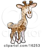 Adorable Brown And Tan Giraffe Clipart Illustration
