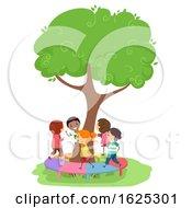 Poster, Art Print Of Stickman Kids Playground Tree Bridge Illustration