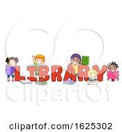 Poster, Art Print Of Kids Library Lettering Illustration