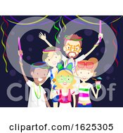 Friends Glow In The Dark Party Illustration