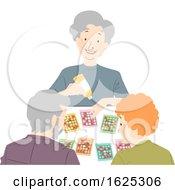Seniors Play Card Game Illustration