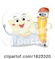 Mascot Pencil Letter Illustration