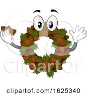 Mascot Acorn Pine Cone Fall Wreath Illustration by BNP Design Studio