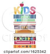 Books Pile Kids Illustration
