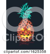 Halloween Tropical Pineapple Monster Illustration