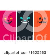 Halloween Faces Cat Pumpkin Clown Illustration